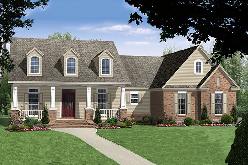 Country Exterior - Front Elevation Plan #21-375