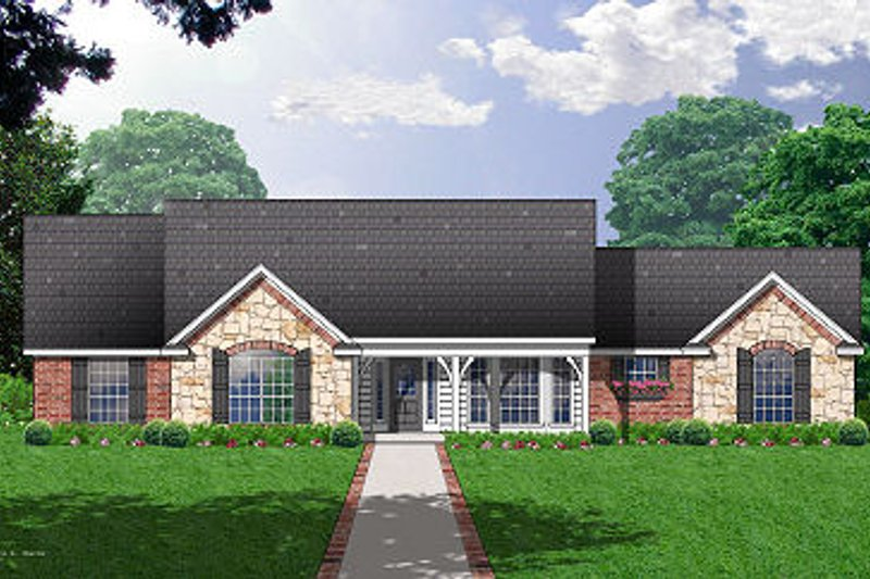 Country Exterior - Front Elevation Plan #40-376