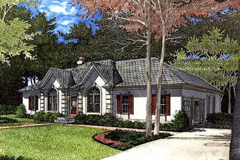 European Style House Plan - 3 Beds 2 Baths 2006 Sq/Ft Plan #56-156 Exterior - Front Elevation