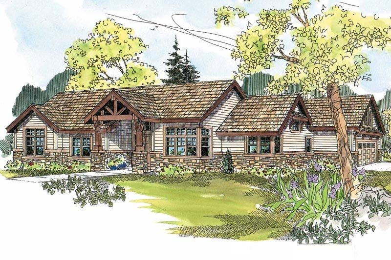 Craftsman Style House Plan - 3 Beds 2.5 Baths 2523 Sq/Ft Plan #124-583 Exterior - Front Elevation