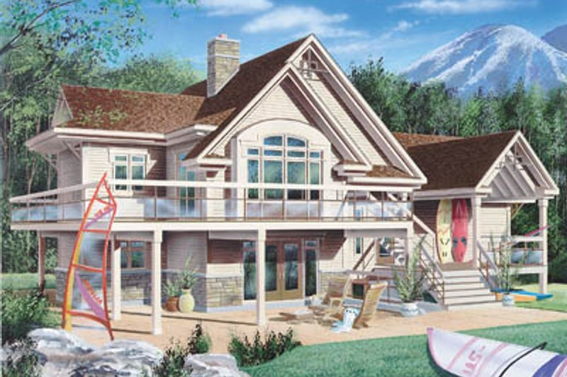 Beach Style House Plan - 3 Beds 4 Baths 1932 Sq/Ft Plan #23-206 Exterior - Front Elevation