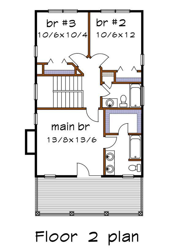 Southern Floor Plan - Upper Floor Plan Plan #79-199