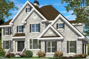 European Style House Plan - 4 Beds 3 Baths 3684 Sq/Ft Plan #138-235 Exterior - Front Elevation