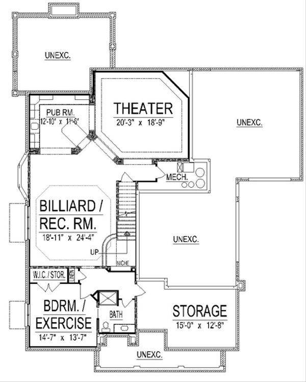 European Floor Plan - Lower Floor Plan Plan #458-17