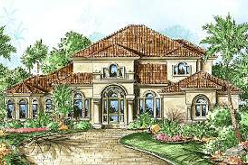 Mediterranean Style House Plan - 3 Beds 3 Baths 3130 Sq/Ft Plan #27-332 Exterior - Front Elevation