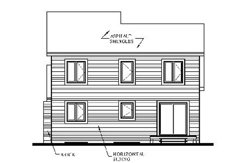 Traditional Exterior - Rear Elevation Plan #23-446 - Houseplans.com
