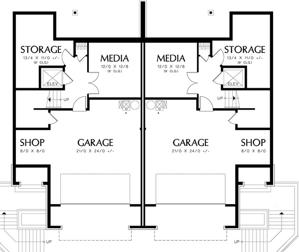 Lower level floor plan - 2800 square foot Modern Duplex