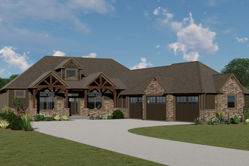 Craftsman Style House Plan - 2 Beds 2.5 Baths 2404 Sq/Ft Plan #1064-68 Exterior - Front Elevation