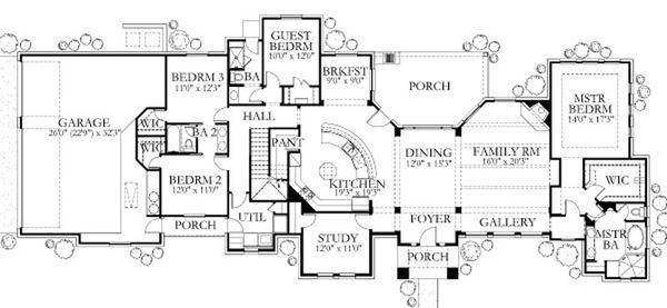 Mediterranean Floor Plan - Main Floor Plan Plan #80-188