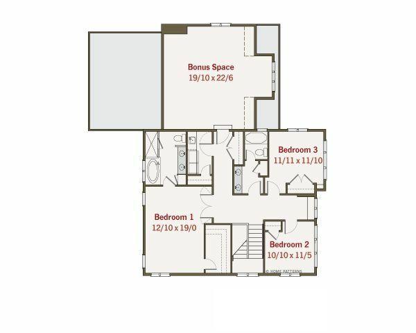 Craftsman Floor Plan - Upper Floor Plan Plan #461-12