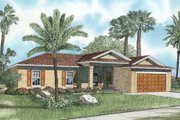 Mediterranean Style House Plan - 3 Beds 2 Baths 1400 Sq/Ft Plan #420-107 Exterior - Front Elevation