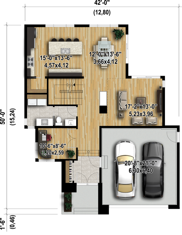 Modern Floor Plan - Main Floor Plan Plan #25-4415