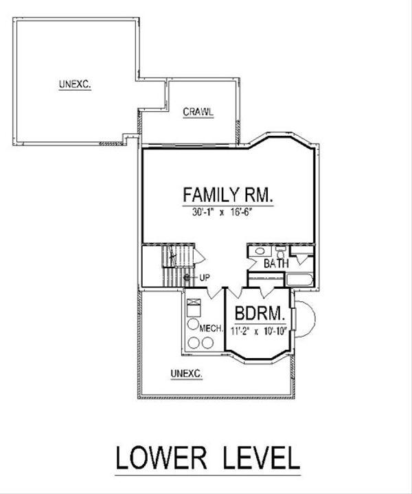 Craftsman Floor Plan - Lower Floor Plan Plan #458-11