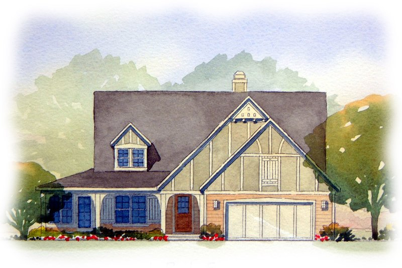 Tudor Style House Plan - 3 Beds 2.5 Baths 3007 Sq/Ft Plan #901-38 Exterior - Front Elevation