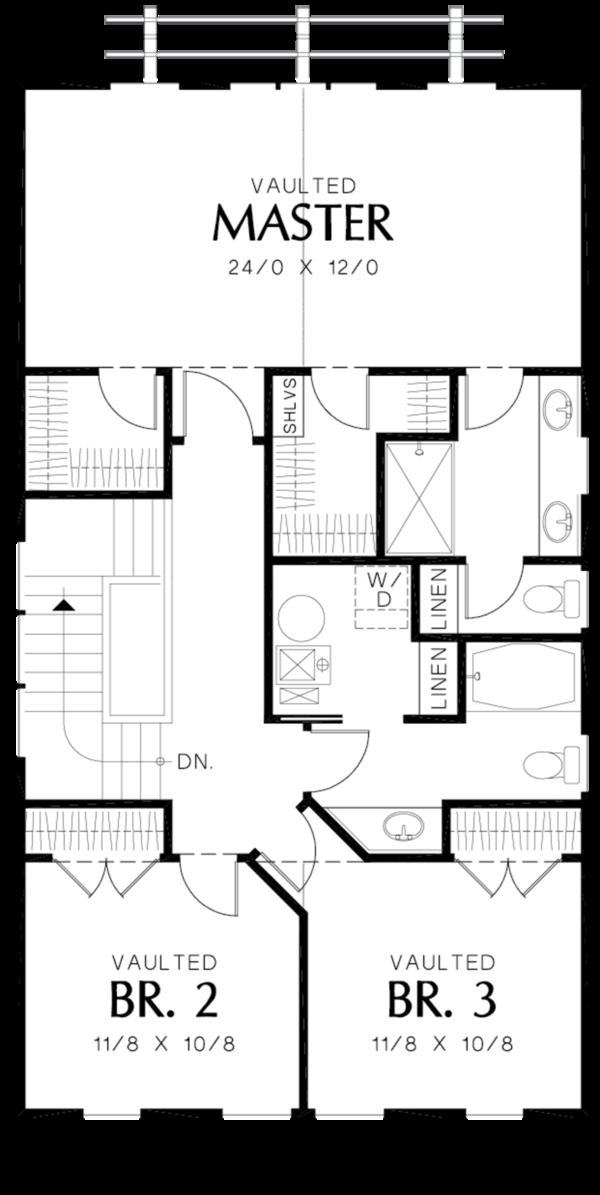 Dream House Plan - Craftsman Floor Plan - Upper Floor Plan #48-490
