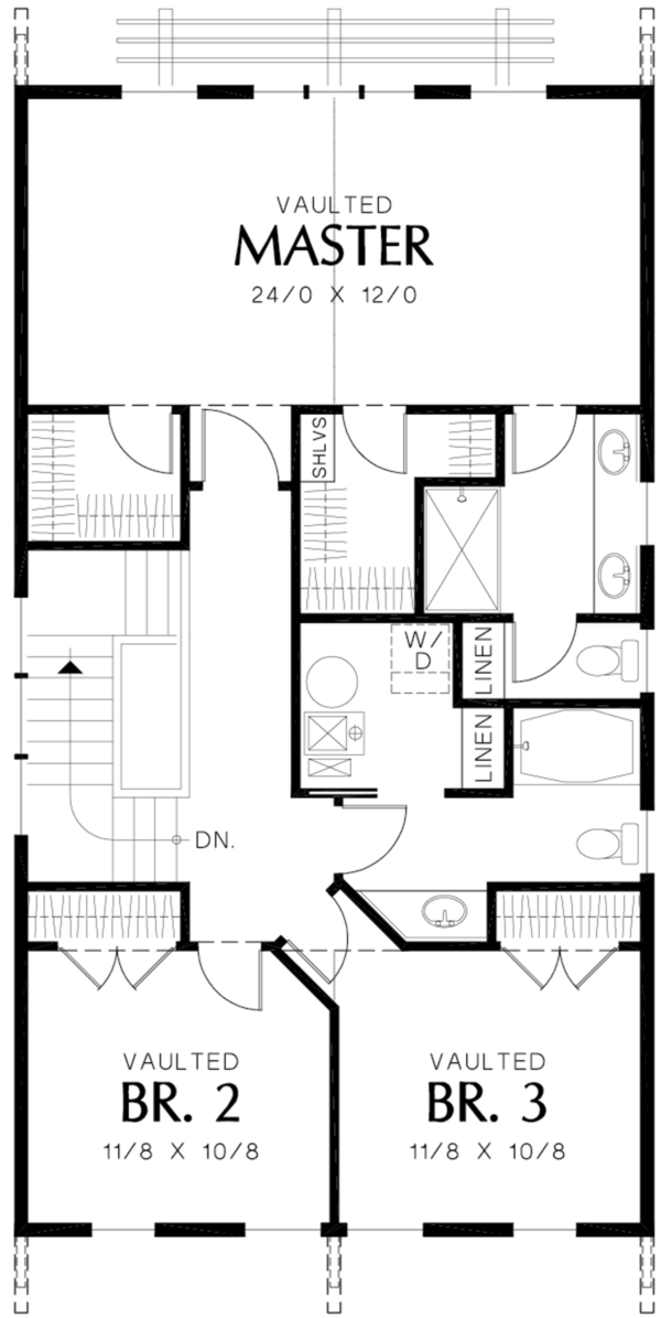 Craftsman Floor Plan - Upper Floor Plan Plan #48-490