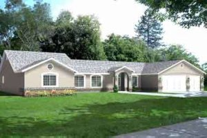 Ranch Exterior - Front Elevation Plan #1-728