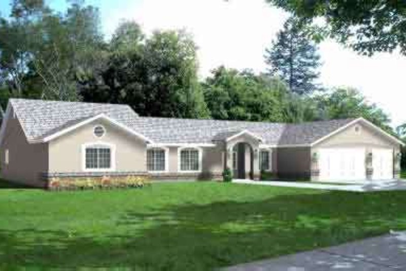 Ranch Style House Plan - 3 Beds 3.5 Baths 2966 Sq/Ft Plan #1-728 Exterior - Front Elevation