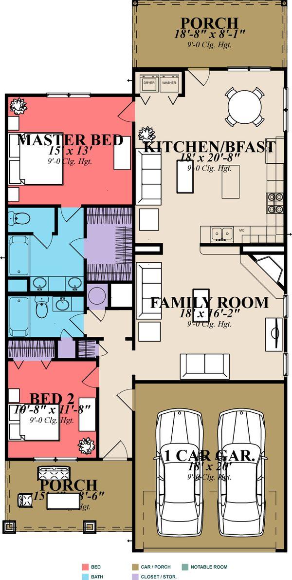 Cottage Floor Plan - Main Floor Plan #63-148