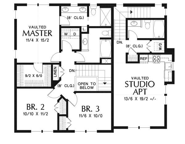 Craftsman Floor Plan - Upper Floor Plan Plan #48-930