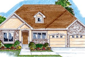 Southern Exterior - Front Elevation Plan #312-662