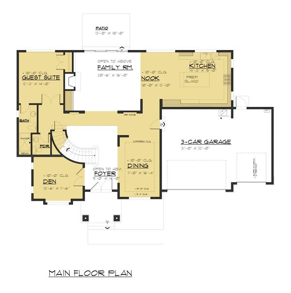 Traditional Floor Plan - Main Floor Plan Plan #1066-70