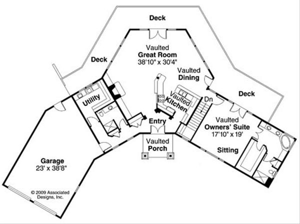 Craftsman Floor Plan - Main Floor Plan Plan #124-730