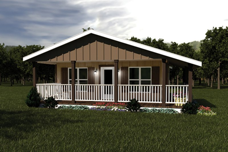Ranch Style House Plan - 2 Beds 1 Baths 720 Sq/Ft Plan #57-239 Exterior - Front Elevation