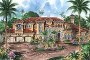 European Style House Plan - 5 Beds 5.5 Baths 6771 Sq/Ft Plan #27-274 Exterior - Front Elevation