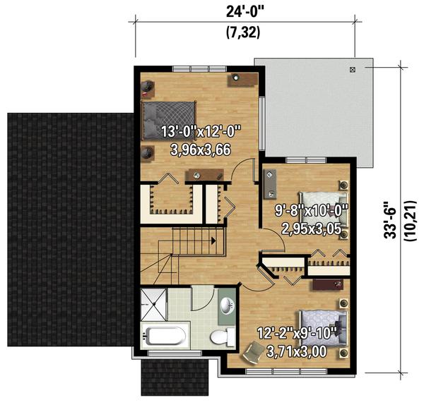Contemporary Floor Plan - Upper Floor Plan Plan #25-4623