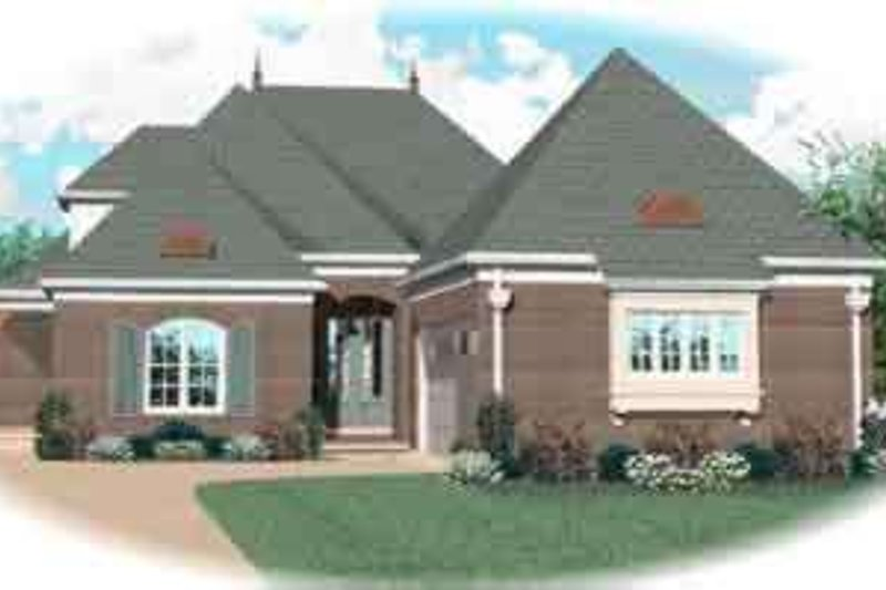 European Style House Plan - 4 Beds 3 Baths 2954 Sq/Ft Plan #81-618 Exterior - Front Elevation