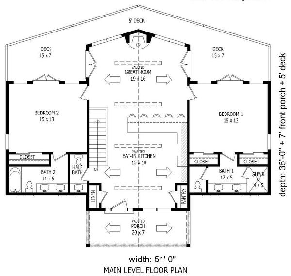 Adobe / Southwestern Floor Plan - Main Floor Plan Plan #932-119