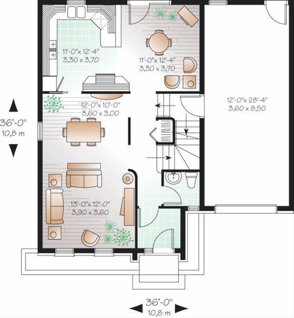 European Floor Plan - Main Floor Plan Plan #23-799
