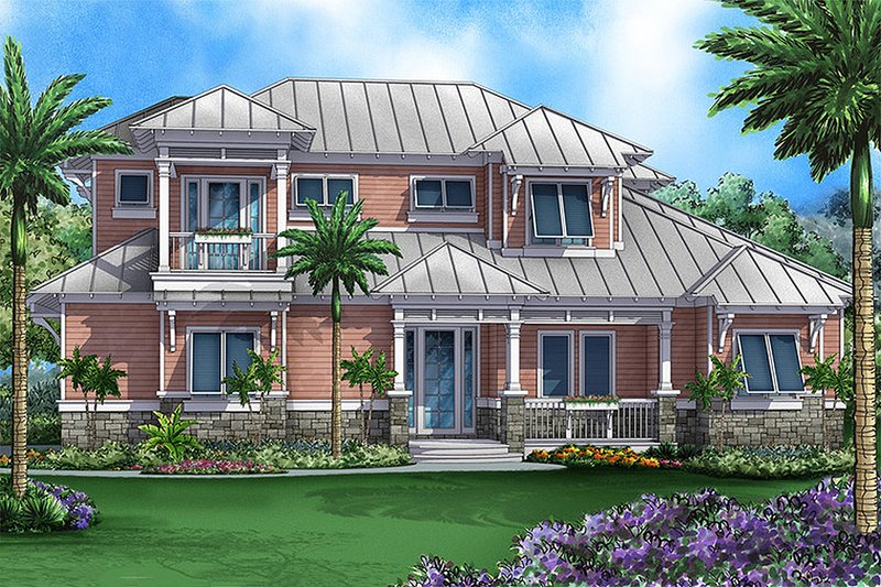 Beach Style House Plan - 4 Beds 4.5 Baths 3451 Sq/Ft Plan #27-484 Exterior - Front Elevation