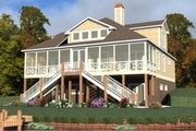 Beach Style House Plan - 4 Beds 4 Baths 3128 Sq/Ft Plan #63-395 Exterior - Front Elevation