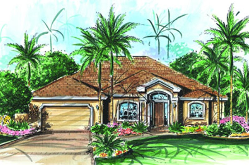 Mediterranean Style House Plan - 3 Beds 3 Baths 2756 Sq/Ft Plan #27-441 Exterior - Front Elevation