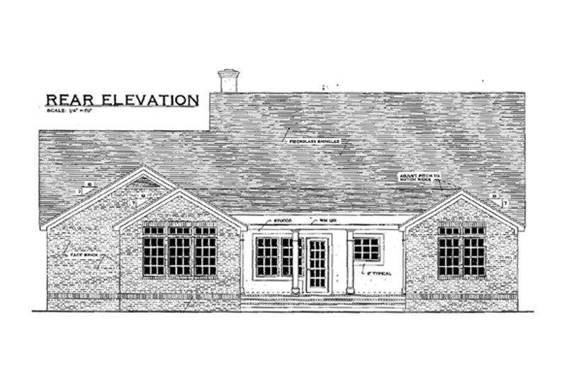 Southern Exterior - Rear Elevation Plan #406-279 - Houseplans.com