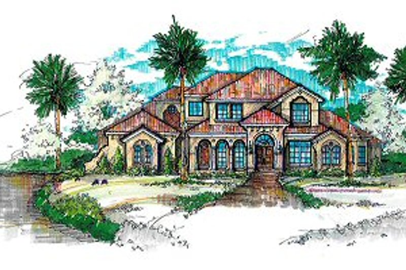 European Style House Plan - 6 Beds 8 Baths 6399 Sq/Ft Plan #135-141 Exterior - Front Elevation