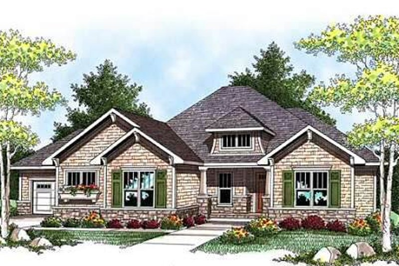 Dream House Plan - Craftsman Exterior - Front Elevation Plan #70-919