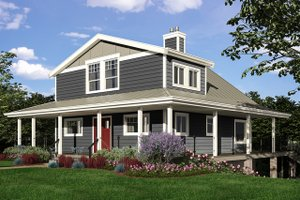 Cottage Exterior - Front Elevation Plan #118-173