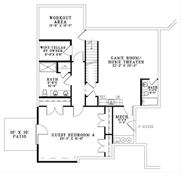 European Floor Plan - Lower Floor Plan Plan #17-1171