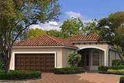 Mediterranean Style House Plan - 3 Beds 2.5 Baths 1552 Sq/Ft Plan #420-206 Exterior - Front Elevation