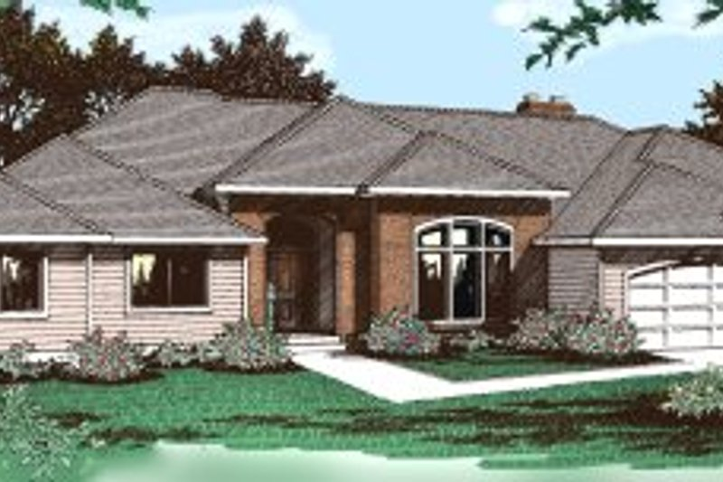 Ranch Exterior - Front Elevation Plan #91-102 - Houseplans.com