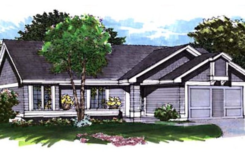 Ranch Style House Plan - 2 Beds 2 Baths 1159 Sq/Ft Plan #320-346 Exterior - Front Elevation
