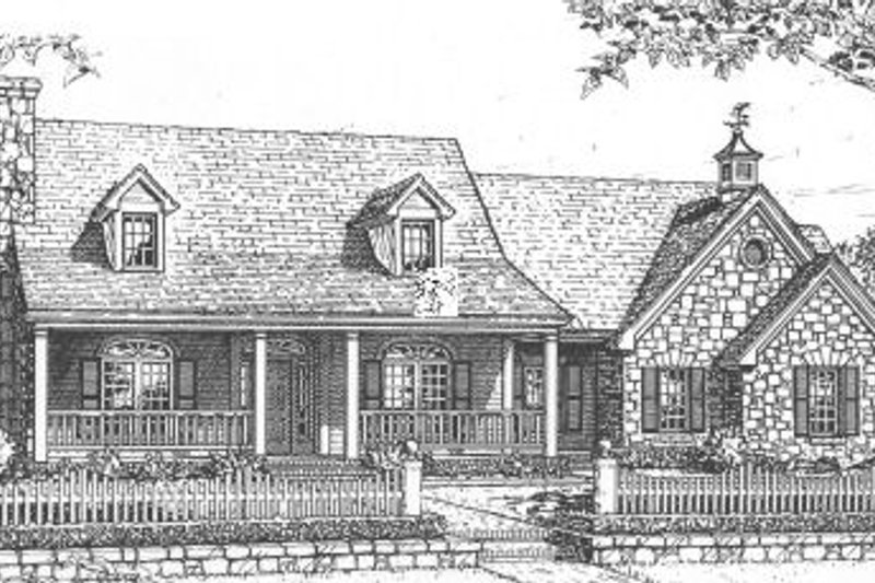 Country Style House Plan - 4 Beds 2.5 Baths 2118 Sq/Ft Plan #310-611 Exterior - Front Elevation