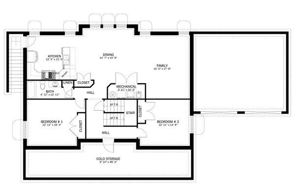 Craftsman Floor Plan - Lower Floor Plan #1060-55