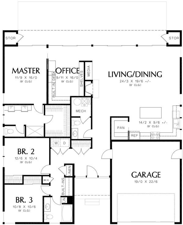 Contemporary Floor Plan - Main Floor Plan Plan #48-471