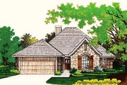 European Style House Plan - 3 Beds 2 Baths 1416 Sq/Ft Plan #310-755 Exterior - Front Elevation