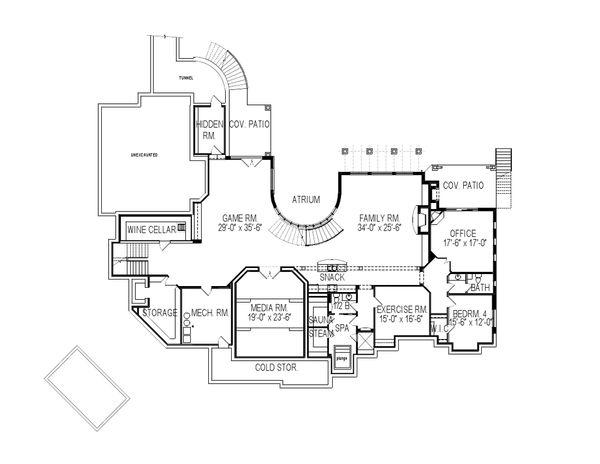 European Floor Plan - Lower Floor Plan Plan #920-126