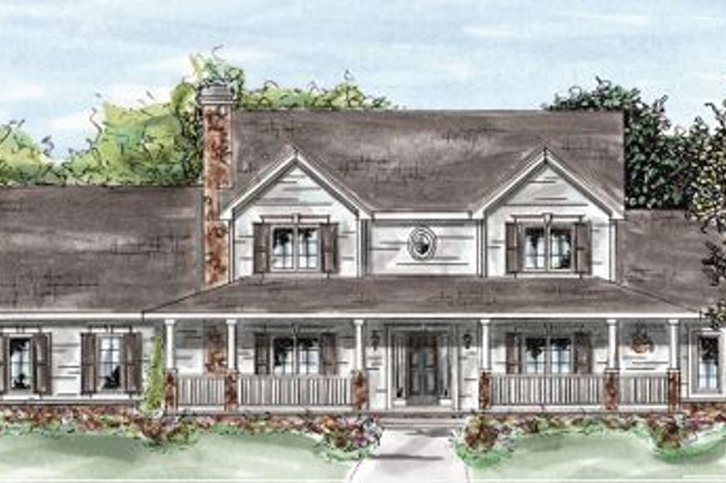 Country Exterior - Front Elevation Plan #20-1284 - Houseplans.com